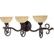 "3-Light 24"" Old Bronze Wall Mounted Vanity Fixture with Tuscan Suede Glass"