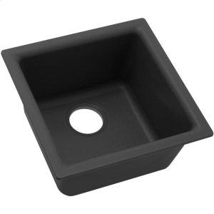 "Elkay Quartz Classic 15-3/4"" x 15-3/4"" x 7-11/16"", Single Bowl Dual Mount Bar Sink, Black Product Image"