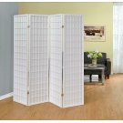 White Four Panel Folding Screen Product Image