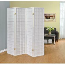 White Four Panel Folding Screen
