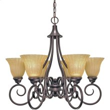 "6-Light 25"" Copper Bronze Chandelier with Champagne Linen Washed Glass"