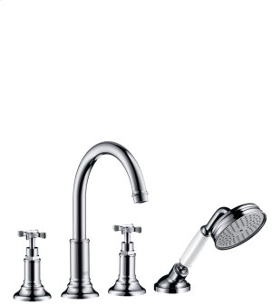 Chrome 4-hole tile mounted bath mixer with cross handles Product Image