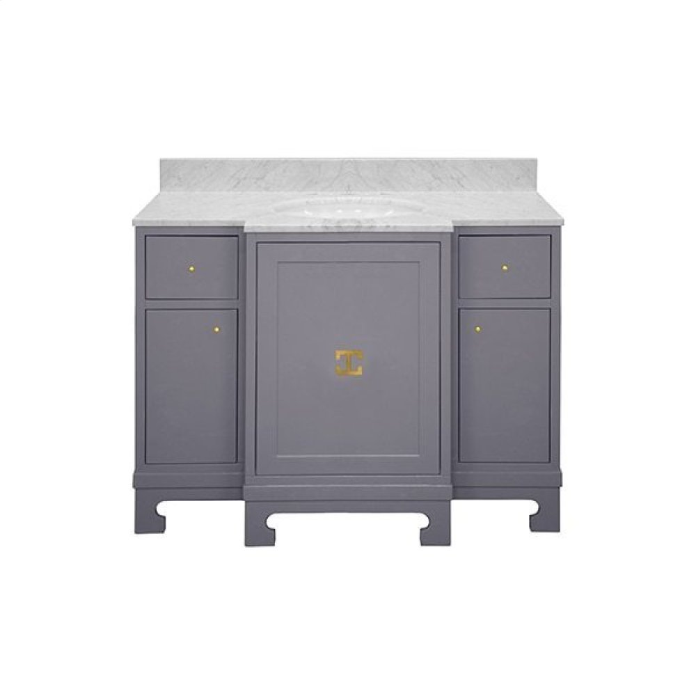 "Three Door- Two Drawer Dark Grey Lacquer Bath Vanity With Gold Leaf Hardware and White Carrara Marble Top. Features: - White Porcelain Sink Included - Optional White Carrara Marble Backsplash Included - for Use With 8"" Wisespread Faucet (not Included) - Soft Close Drawers"