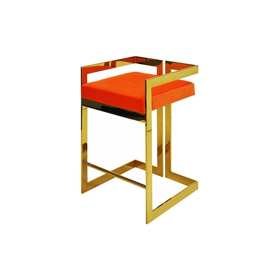 "Counter Height Brass Stool With Orange Velvet Cushion - Seat Height 27"""