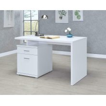 Contemporary White Executive Desk