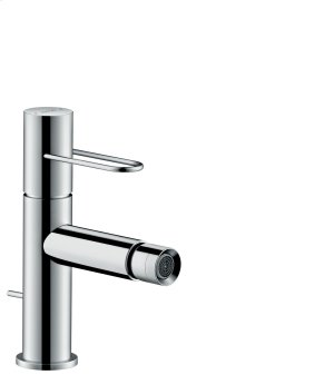 Chrome Single lever bidet mixer with loop handle and pop-up waste set Product Image