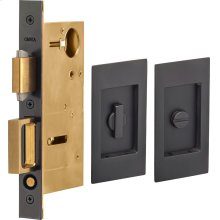 Pocket Door Lock with Modern Rectangular Trim featuring Turnpiece and Emergency Release in (US10B Oil-Rubbed Bronze, Lacquered)