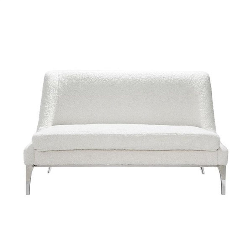 Settee With Nickel Base In Sherpa