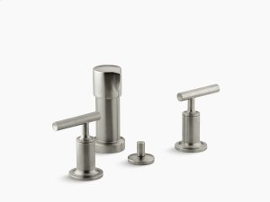 Vibrant Brushed Nickel Vertical Spray Bidet Faucet With Lever Handles Product Image