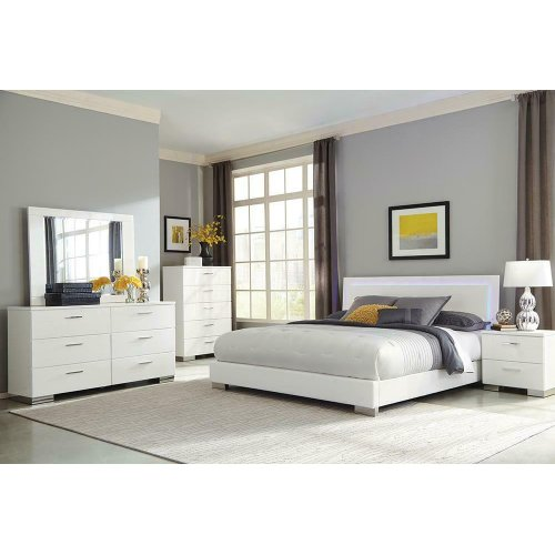 Felicity Contemporary White and High Gloss Queen Five-piece Set
