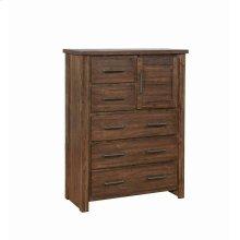 Sutter Creek Warm Bourbon Five-drawer Chest With Door