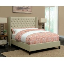 Benicia Beige Upholstered Full Bed