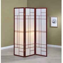 Transitional Brown Red Three-panel Screen