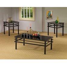 Contemporary Black Tempered Glass Three-piece Set