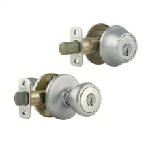 Tylo Knob with Single Cylinder Deadbolt Combo Pack - Satin Chrome