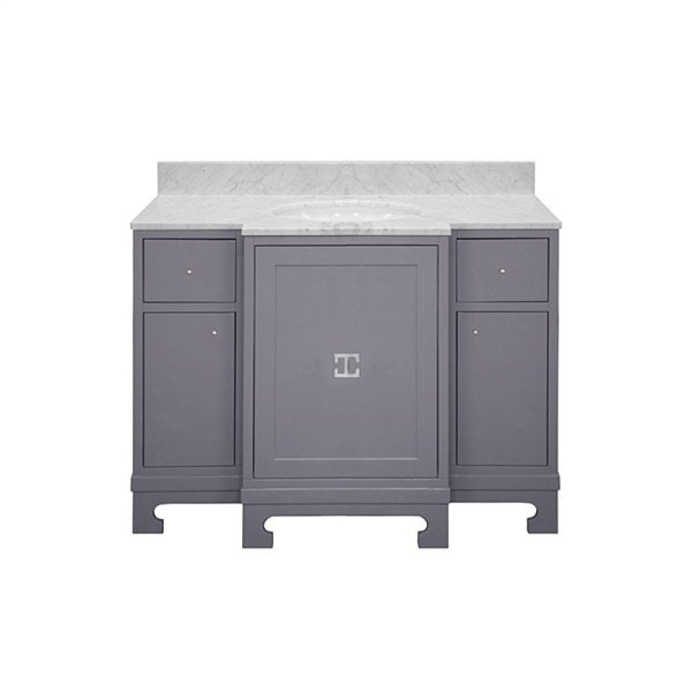 "Three Door- Two Drawer Dark Grey Lacquer Bath Vanity With Nickel Hardware and White Carrara Marble Top Features: - White Porcelain Sink Included - Optional White Carrara Marble Backsplash Included - for Use With 8"" Widespread Faucet (not Included)"