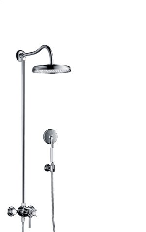 Chrome Showerpipe with thermostat and overhead shower 1jet Product Image