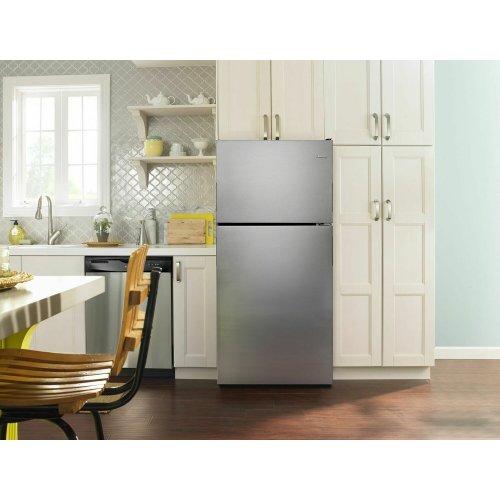 30-inch Wide Top-Freezer Refrigerator with Garden Fresh Crisper Bins - 18 cu. ft. - Monochromatic Stainless Steel