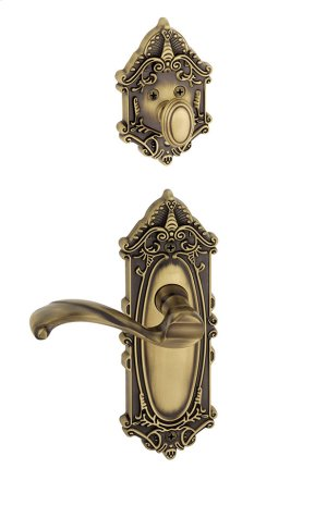 Grandeur - Single Cylinder Combo Pack Keyed Differently - Grande Victorian Plate with Portofino Lever and Matching Deadbolt in Vintage Brass Product Image