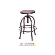 "24-30"" Adjustable Height Swivel Stool, wooden seat, curved leg, Iron base"
