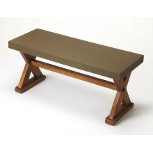 """This distinctive rectangular bench will make a statement in an entryway or living room. Featuring a sealed concrete seat with a solid pine """"X """" legged trestle base, its clean transitional lines make for a great addition with virtually any decor."""