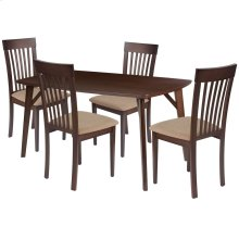 5 Piece Espresso Wood Dining Table Set with Rail Back Wood Dining Chairs - Padded Seats