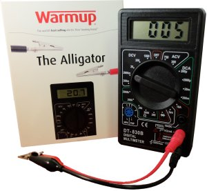 The Warmup ALLIGATOR is an ohmmeter with connectors that clip straight to the heating cable. The device constantly monitors the heating cables during installation and gives you the readings you need to complete the warranty and ensure a safe installation. Product Image