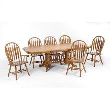 Classic Oak Chestnut Solid Trestle Table