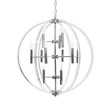 Acrylic Twelve Light Chandelier In Nickel
