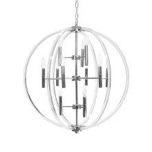 Acrylic Twelve Light Chandelier In Nickel
