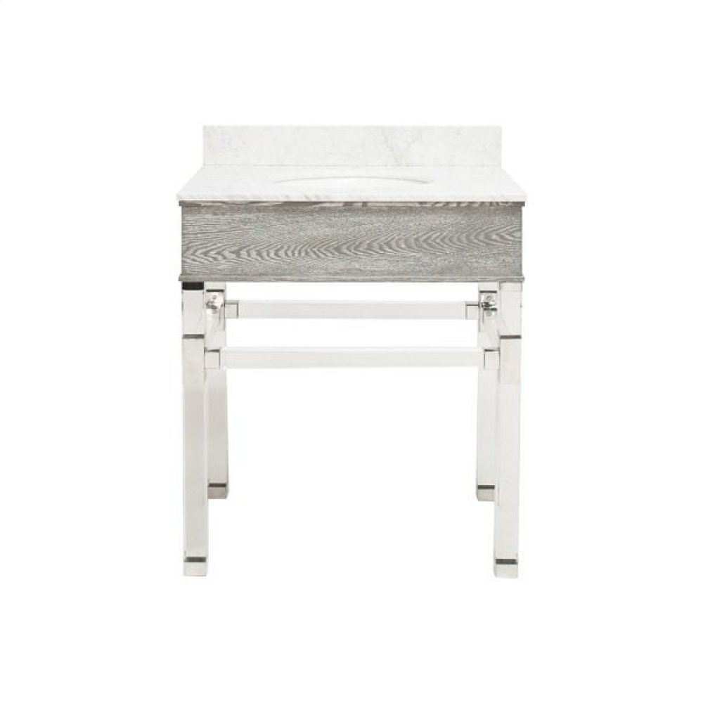 """Acrylic and Nickel Four Leg Bath Vanity With White Marble Top In Grey Cerused Oak Features: - White Porcelain Sink Included - Optional White Carrara Marble Backsplash Included - for Use With 8"""" Wisespread Faucet (not Included)"""