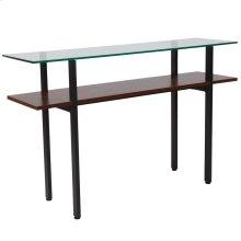 Glass Console Table with Walnut Finish Shelf