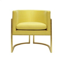 Gold Leaf Frame Barrel Chair In P07/citron