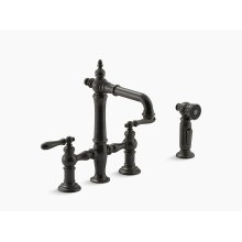Oil-rubbed Bronze Deck-mount Bridge Bar Sink Faucet With Lever Handles and Sidespray
