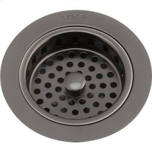 "Elkay 3-1/2"" Drain Fitting Antique Steel Finish Body and Basket with Rubber Stopper"