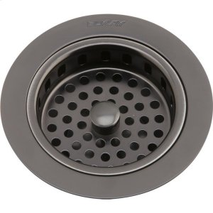 "Elkay 3-1/2"" Drain Fitting Antique Steel Finish Body and Basket with Rubber Stopper Product Image"