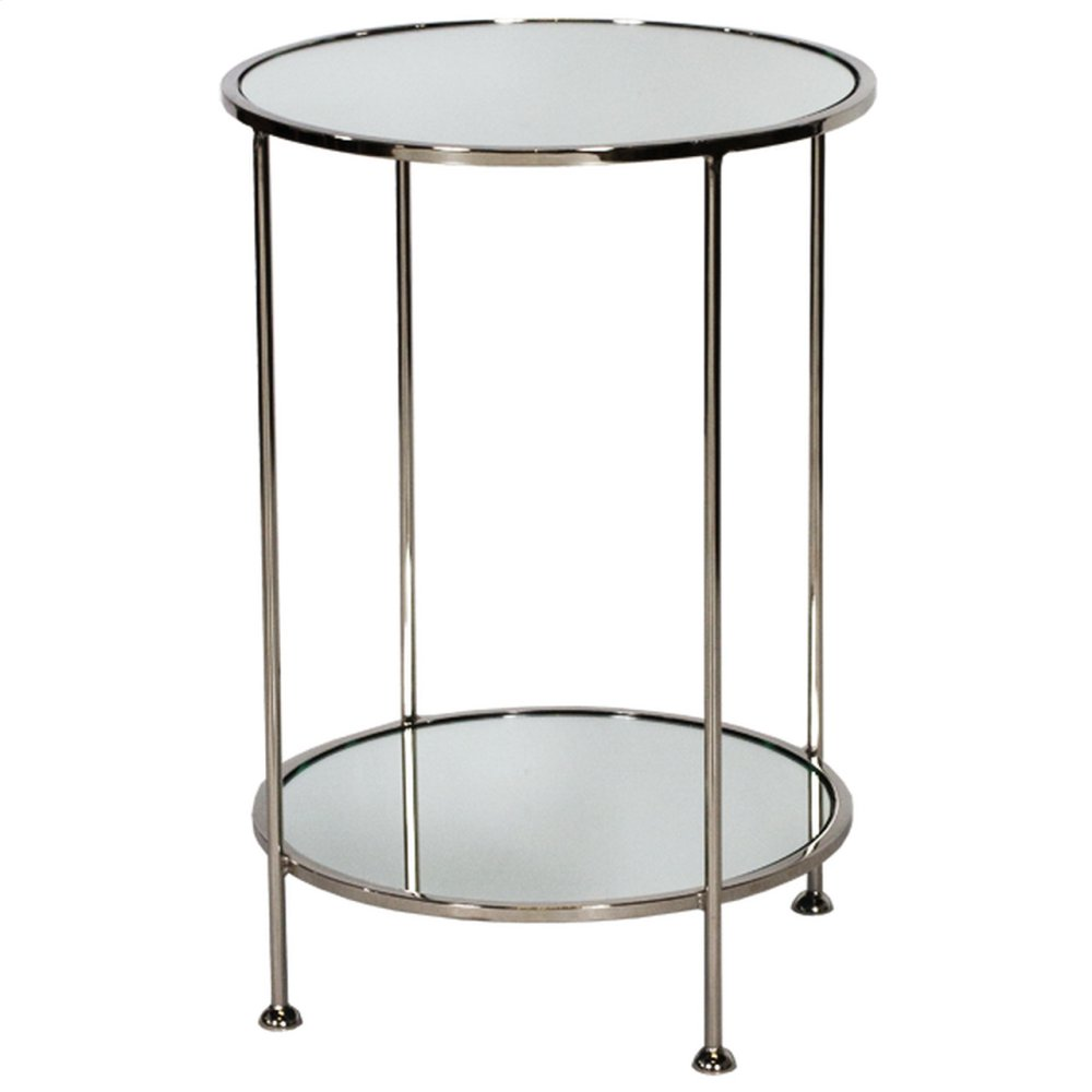 2 Tier Nickel Plated Side Table W. Plain Mirror Tops.