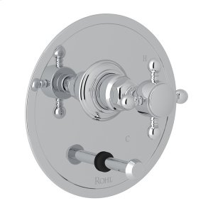 Polished Chrome Italian Bath Pressure Balance Trim With Diverter with Cross Handle Product Image