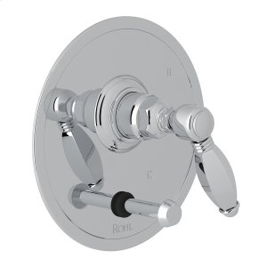 Polished Chrome Italian Bath Pressure Balance Trim With Diverter with Metal Hex Lever Product Image