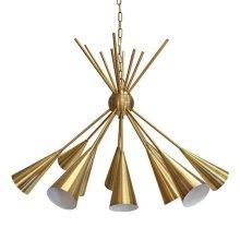 Twelve Light Cluster Chandelier In Antique Brass