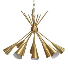 Twelve Light Cluster Chandelier In Antique Brass
