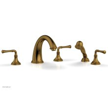 COINED Deck Tub Set with Hand Shower - Lever Handles 208-48 - French Brass