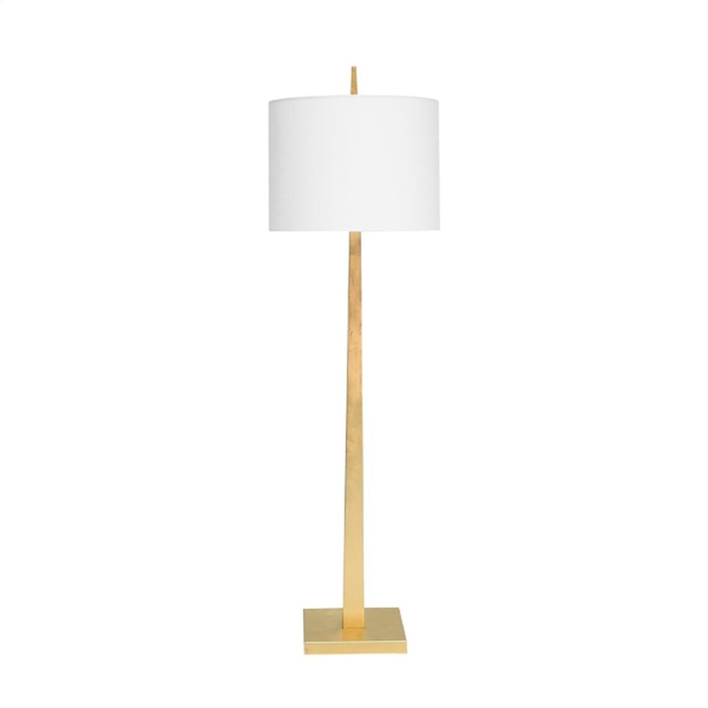 Sleek Tapering Floor Lamp In Gold Leaf With 20' Diameter White Linen Shade Ul Approved for One 60 Watt Bulb
