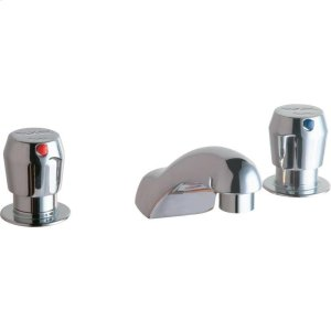 """Elkay 4"""" Centerset with Concealed Deck Metered Lavatory Faucet with Cast Fixed Spout Push Button Handles Chrome Product Image"""