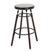 Boston Backless Seat Bar Stool with Dark Cherry Finished Wood Frame, Footrest and Twisted Charcoal Metal Posts, 30-Inch Seat Height Product Image