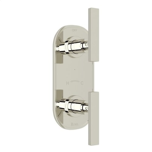 """Polished Nickel Pirellone 1/2"""" Thermostatic/Diverter Control Trim with Metal Lever"""