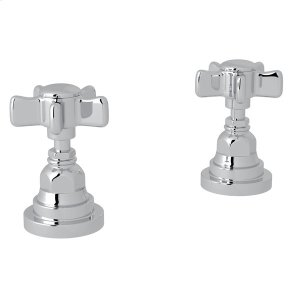 "Polished Chrome San Giovanni Set Of Hot & Cold 1/2"" Sidevalves with Five Spoke Cross Handle Product Image"