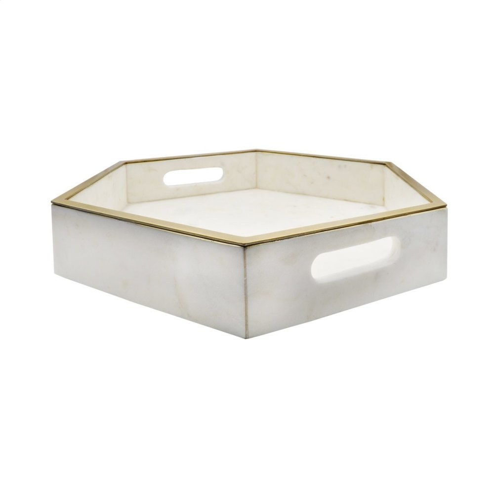 White Marble Tray With Brass Lining