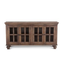 "Colonial Glass Cabinet 70"" 4 Doors Weathered Teak"