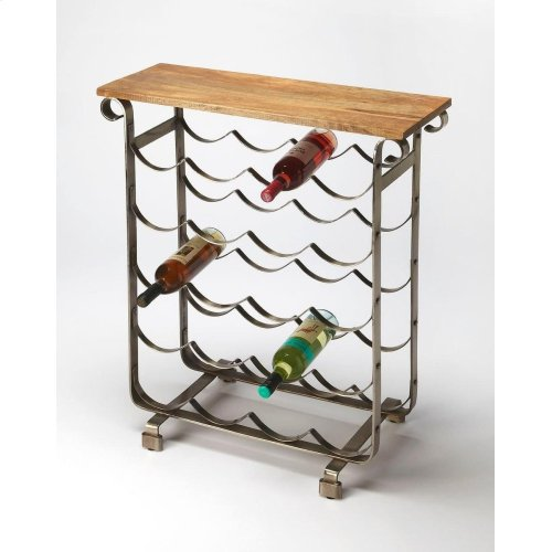 With a look evoking a classic Napa winery, this wine rack with a mango wood top is a charming addition to your entertaining arsenal. Made from metal and wood with a brushed finish look, this table and rack are perfect for the kitchen, dining room, or home
